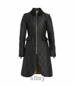 New BURBERRY Equestrian Quilted Long Black Ongar Coat/Jacket sz XS