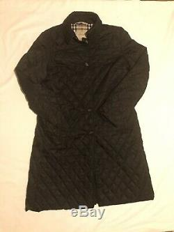 New Burberry Quilted Long Riding And Vintage Lined Coat Size Large Uk Size 14