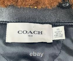 New COACH Mens Leather Bomber Sheriff Jacket Coat Shearling Size 46 $1600 Black