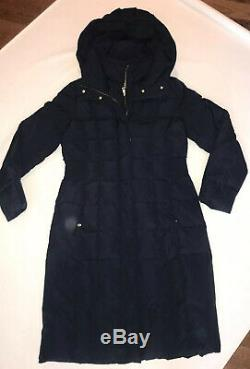 New Cole Haan Women's Taffeta Quilted Long Down Coat Medium Navy M Jacket