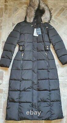 New DKNY Womens Fur Hooded Long Puffer Jacket Parka Coat MSRP $350 Sz S Black