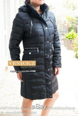New MICHAEL KORS Heavy Hooded Long Down Jacket Coat Quilted Puffer Black Size M