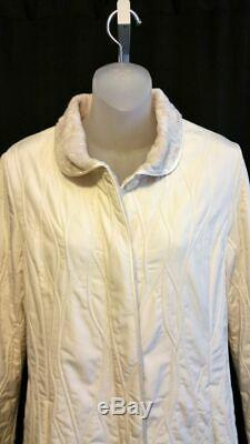 New MYCRA PAC Ivory Quilted Long Coat Size Small Raincoat Style 3935