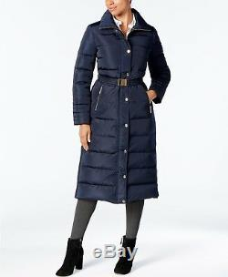 New Michael Kors $400 Navy Long Quilted Down Belted Puffer Coat Sz S Small