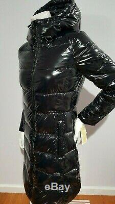 New Michael Kors Quilted & Puffer Black Patent Long Coat Size S