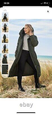 New NEXT Emma Willis Long Padded Khaki Coat Size 12 BNWT