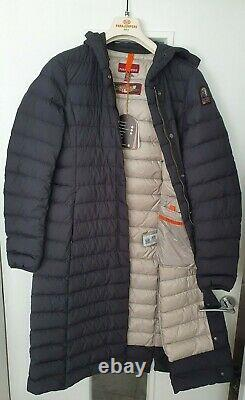New PARAJUMPERS OMEGA ULTRA LIGHTWEIGHT EXTRA LONG HOODED PUFFER BLACK (M)