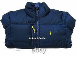 New Polo Ralph Lauren Men Navy Blue Winter Snow Quilted Trek Puffer Down Jacket