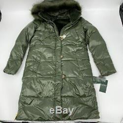 New Ralph Lauren womens long puffer jacket hooded faux fur Sz S khaki x 353