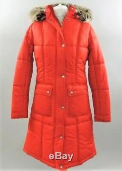 New Women's Barbour Icefield Quilted Fitted Long Jacket Coat Red Size 10 Fashion