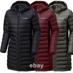 New Womens Columbia Lake 22 Long Hooded Heat Seal 650-Fill Down Jacket Coat