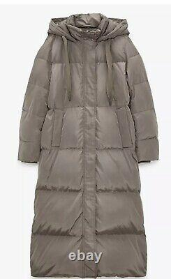 New Zara Taupe Grey Extra Long Down Puffer Jacket, Coat Size M