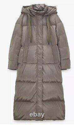 New Zara Taupe Grey Extra Long Down Puffer Jacket, Coat Size XL