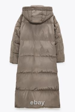 New Zara Taupe Grey Extra Long Down Puffer Jacket, Coat Size Xs