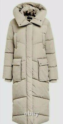 Next Emma Willis 10 Neutral Duvet Wadded Shower Resist Long Coat Jacket Bnwt
