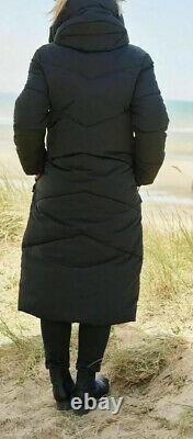 Next Emma Willis 10 Petite Black Duvet Shower Resist Long Coat Jacket Bnwt