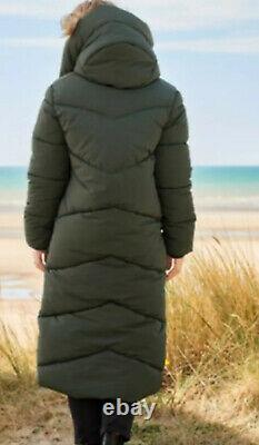 Next Emma Willis 12 Khaki Duvet Wadded Shower Resist Long Coat Jacket Bnwt