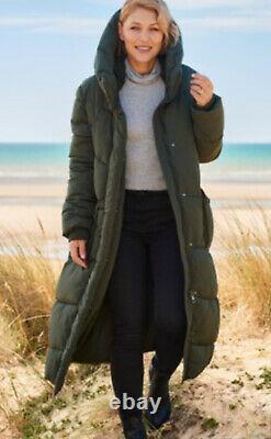 Next Emma Willis 14 Khaki Duvet Wadded Shower Resist Long Coat Jacket Bnwt