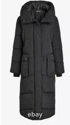 Next Emma Willis 16 Tall Black Duvet Shower Resist Long Coat Jacket Bnwt