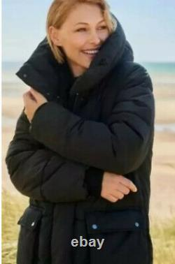 Next Emma Willis 8 Petite Black Duvet Wadded Shower Resist Long Coat Jacket Nwt