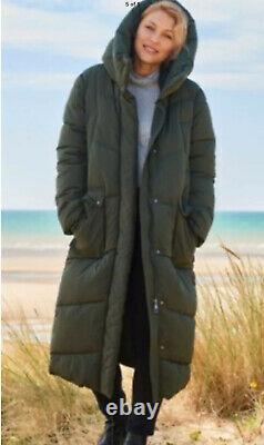 Next Emma Willis 8 Petite Khaki Duvet Wadded Shower Resist Long Coat Jacket Bnwt