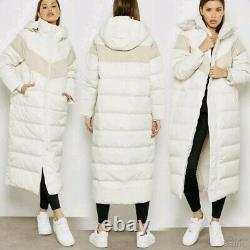 Nike Cream Full Length Down Fill Quilted Puffer Coat Sz L Hooded Rrp £189 Warm