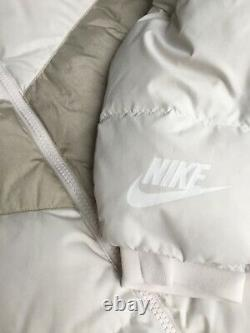 Nike Cream Full Length Down Fill Quilted Puffer Coat Sz XL Hooded Rrp £189 Warm