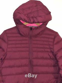 Nike Long Padded Jacket Down fill Zip Burgundy Winter Hooded Coat Parka Packable