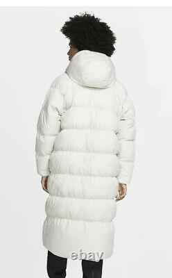 Nike NSW Down Fill Womens Long Parka, Puffa, Coat, Ivory, BV2881-008, Large