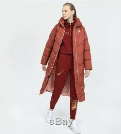 Nike NSW Down Fill Womens Long Parka Puffer Coat Size S BV2881-661 Cedar/Coral