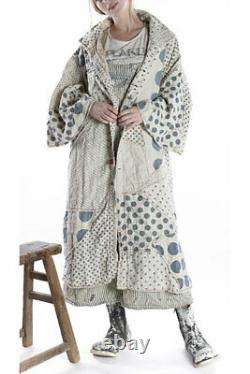 Nwt Magnolia Pearl Quilted Linen Patchwork Sila Coat Mixed Buttons Snaps In Yayo