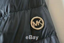 Nwt Women's Michael Kors Black 3/4 Dowm Trim Puffer Coat Jacket Hooded Sz XL