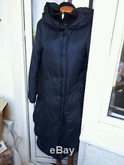 Oblique Creations Down Puffa Coat Italy Dark Blue Long Maxi Size M 10-12 UK
