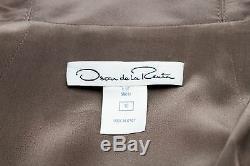 Oscar De La Renta Women Metallic Dark Grey Long Fashion Coat Bobble Jacket 10