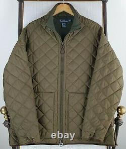 POLO RALPH LAUREN Size XL Mens Olive Green Fleece Line Leather Trim Field Jacket