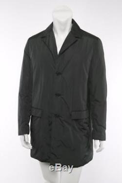 PRADA Mens Deep-Dark-Green Puffer Quilted Lightweight Nylon Long Jacket Coat L