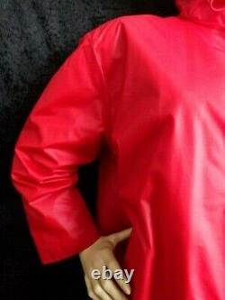 PRIVATE LISTING Vintage Red RUKKA Finland PVC VINYL Mac Coat Quilted Lining M/L