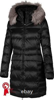 Pikeur Premium Long quilted Coat Brenda in Black with grey faux fur collar