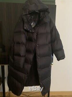 Polo Ralph Lauren Long Hooded Down Black Women Oversized Jacket Coat Size M NEW