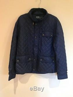 Polo Ralph Lauren Mid Blue Quilted Long Sleeve Jacket Coat Size XL UK Ex Con
