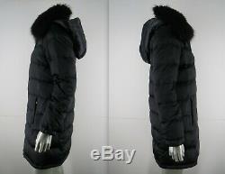 Prada Puffer Coat Fox Fur Collar Sz 6 42 S M Black Quilted Down Long Zip Hooded