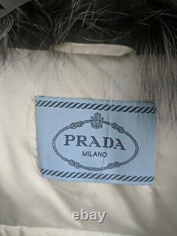 Prada Silver grey Puffer Feather Down Winter Coat Jacket size small/EU 40/US 6