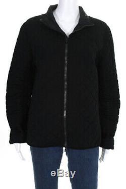 Prada Sport Womens Long Sleeve Zip Jacket Coat Black Quilted Size Medium