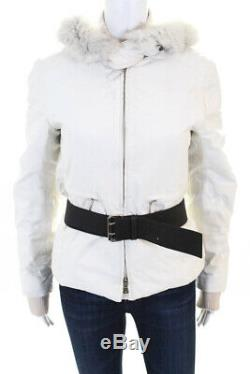Prada Womens Long Sleeve Fur Trim Hooded Belted Puffer Coat Ivory IT Size 40