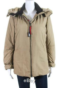 Prada Womens Long Sleeve Puffer Coat Beige Fur Hood Size 44