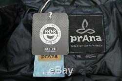 Prana Women Long Down Jacket Hooded Front Zip Size S Winter Coat Allied RDS New