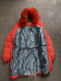 Pyrenex womens long down coat ski jacket detachable fur hood orange red 36 / XS