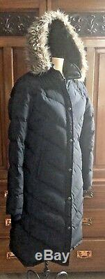 RALPH LAUREN QUILTED & PUFFER BLACK DOWN LONG COAT WithHOOD FAUX FUR