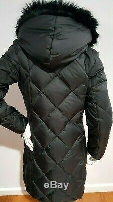 RALPH LAUREN WOMEN'S QUILTED PUFFER BLACK LONG COAT WithFAUX FUR HOOD TRIM SIZE M