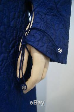 ROHIT BAL Royal Blue Floral Embroidered Quilted Long Length Jacket Coat 38 UK10